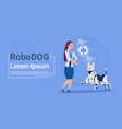 woman with robotic dog updating interface animal vector image