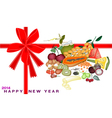 New Year Gift Card with Health and Nutrition Fruit vector image