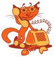 cartoon phone cat vector image vector image