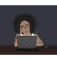 Concerned young black woman and computer vector image