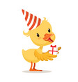 little yellow duckling in a party hat holding gift vector image