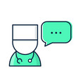 medical doctor with speech bubble vector image