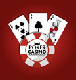 poker casino chip club game cards red design vector image