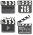 Movie black clapper boards set vector image