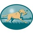 Retriever dog with bird on wetland vector image vector image