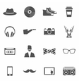 Hipster Black Icons Set vector image