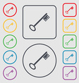 Key icon sign Symbols on the Round and square vector image