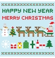 Happy new year and merry christmas isolated vector image