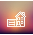 Home and garage thin line icon vector image