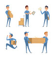 set of cartoon characters at work of delivery vector image