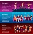 Nightlife Dance Club Flat Banners Set vector image