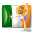 The flag of Italy at the back of a girl vector image vector image