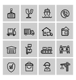 black shipping icon set vector image vector image