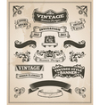 Retro vintage banner and ribbon set vector image