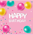 colorful balloons with message on pink background vector image
