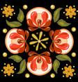 khokhloma russian pattern on a circle vector image