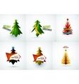 Set of Christmas tree geometric designs vector image