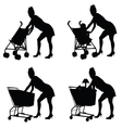 woman with baby and shoping basket vector image