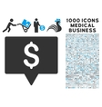Bank Map Pointer Icon with 1000 Medical Business vector image