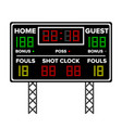 american football scoreboard time guest home vector image