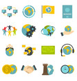 global connections icons set in flat style vector image