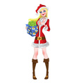 New Year girl in Santa suit vector image vector image