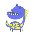 blue and yellow funny dinosaur prehistoric animal vector image
