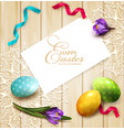 festive background with easter eggs and crocuses vector image