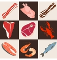 Fish and meat flat icons vector image