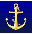 Gold Anchor on blue background vector image