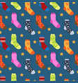 winter socks with different prints seamless vector image