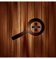 Zoom in icon Search loupe Wooden texture vector image