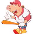 Pig Baseball Player Cartoon vector image vector image