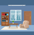 room armchair table plant bookshelf trophy clock vector image