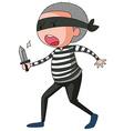 Robber holding sharp knife vector image