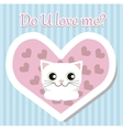 White cat lies and looks for Valentine day vector image
