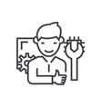 computer technician concept thin line icon vector image