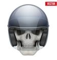 Human skull with motor biker helmet vector image