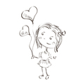 little girl holding hearts vector image