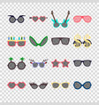 party colorful sunglasses icon set in flat style vector image