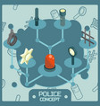 police color isometric concept icons vector image