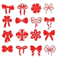 Red gift bow silhouettes for decoration vector image