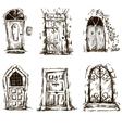 set of doodle doors sketch EPS 10 vector image
