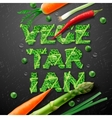 Vegetarian design template with fresh vegetables vector image