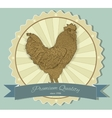 Vintage badge with Rooster vector image