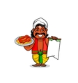 Indian cook with menu and chicken curry rice vector image