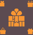orange gift box with a bow or present icon vector image