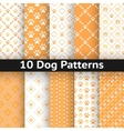 Set of dog seamless pattern vector image