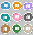 map icon symbols Multicolored paper stickers vector image