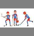 classic ice hockey player set competition vector image